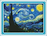 Good Value Cross Stitch Kits Beginners Kids Advanced - The Starry Night of Van Gogh 11 CT 23''X 18'', DIY Handmade Needlework Set Cross-Stitching Accurate Stamped Patterns Embroidery Frameless