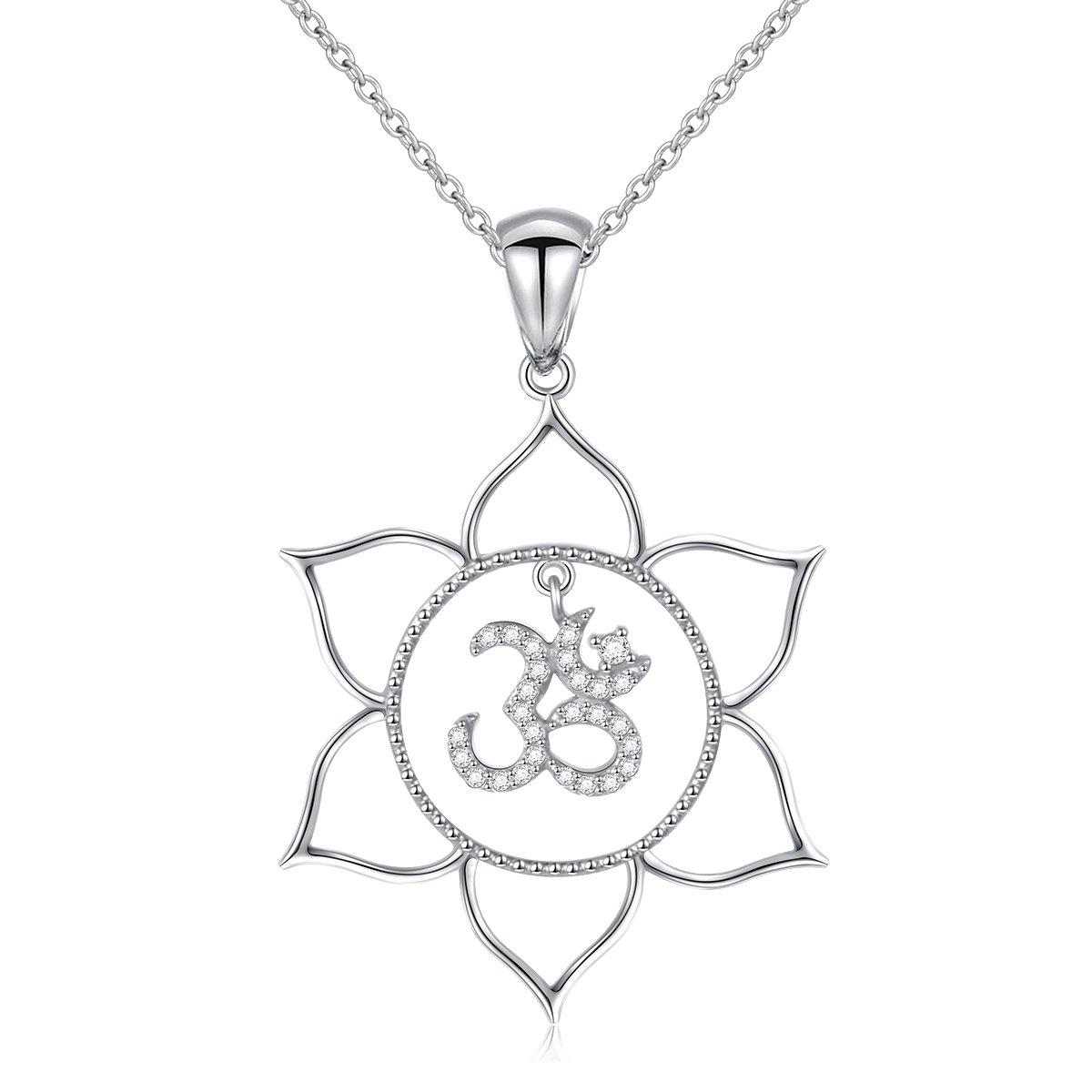 S925 sterling silver lotus flower om symbol yoga pendant necklace s925 sterling silver lotus flower om symbol yoga pendant necklace for women 18 izmirmasajfo