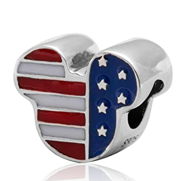 814e1f68b Image Unavailable. Image not available for. Color: Soulbeads Mickey USA  American Flag Enamel Beads 925 Sterling Silver Charm Fits Pandora Charms  Bracelet