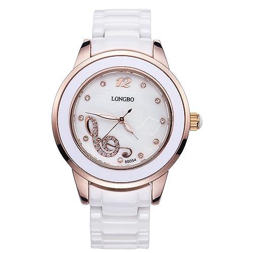LONGBO Womens Luxury Ceramic Band Business Bangle Watch Rose Gold Case Music Note Bracelet Wrist Dress