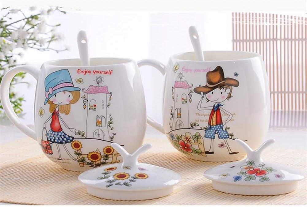 Erjialiu 410Ml, 2Pcs / Set, Vaso de Porcelana, Regalos para los Amantes del café, Regalo de Bodas, Taza de Leche para el Desayuno, Tazas Originales de té de Vaso
