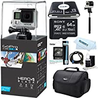 GoPro Hero 4 Black Waterproof 4K Action Camera Kit 11 PC (Black)