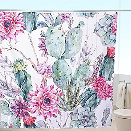 Arfbear Cactus Shower Curtain Liner Flowering Succulent Plants Prickly Pear Flowers Unique Pattern Waterproof