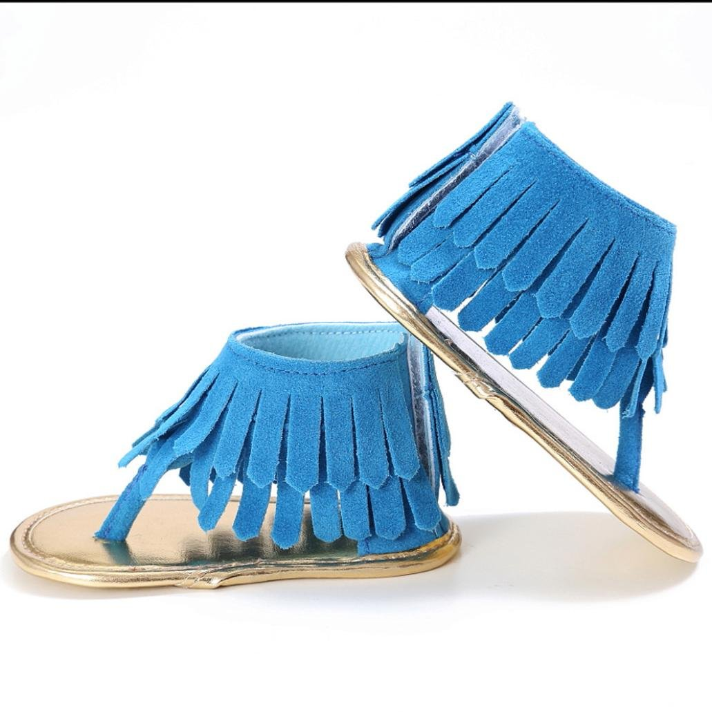 11, Blue Nesee Toddler Girl Crib Solid Shoes Soft Sole Anti-slip Fringe Sandals