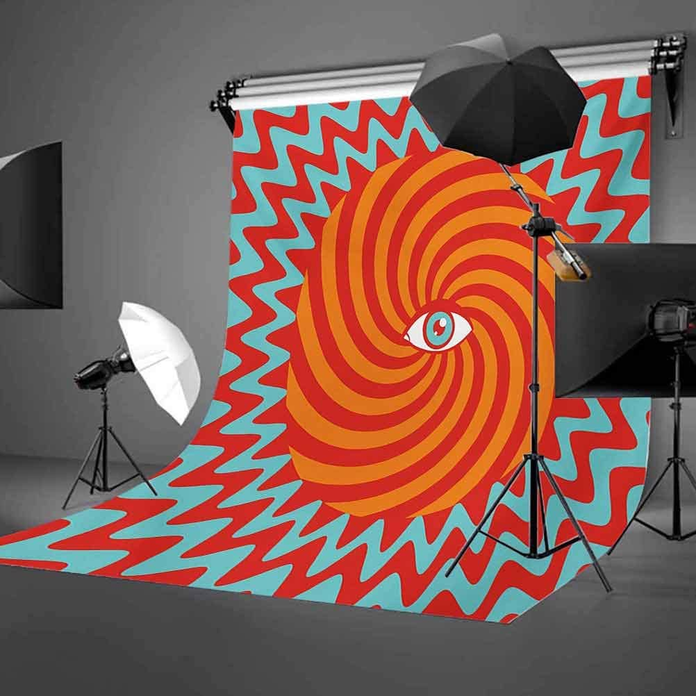 Inner Eye in Centre of Spiral Lines with Concentric Circle Pattern Hypnotic Art Background for Party Home Decor Outdoorsy Theme Vinyl Shoot Props Multicolor Vintage 10x15 FT Photography Backdrop