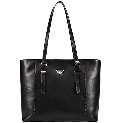 d89fc89943e5 BOSTANTEN Women Briefcase Leather Laptop Tote Handbags 15.6 inch Computer  Shoulder Bags Black