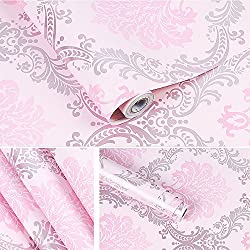 SimpleLife4U Vintage Pink Damask Self-Adhesive Shelf Drawer Liner Moisture Proof PVC Mat 45x300cm Valentine's Day Gift