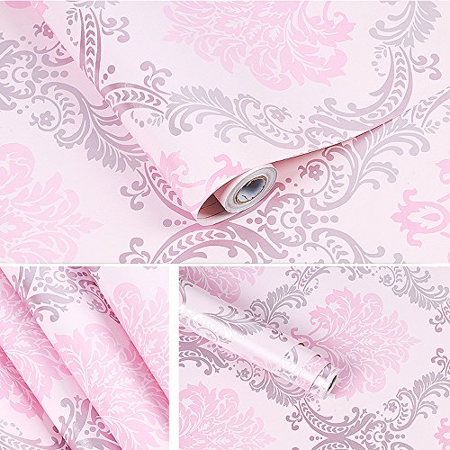 (Yifely Vintage Pink Damask Self-Adhesive Shelf Drawer Liner Moisture Proof PVC Mat 45x300cm)