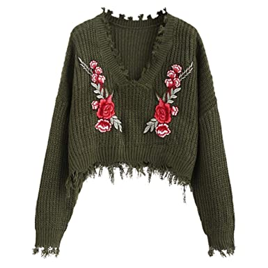 27ccd4c2bfdfa4 ZAFUL Women s Frayed V Neck Floral Embroidered Pullover Sweater Loose Long  Sleeve Knitted Crop Top (