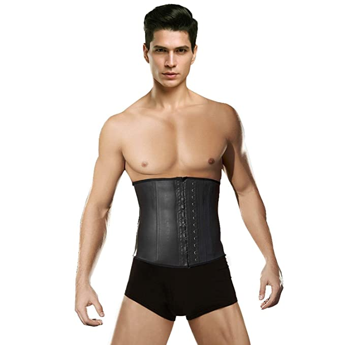 3954f73539 FeelinGirl Men s Tummy Control Steel Boned Waist Trainer Workout Sport  Shapewear (Small