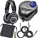 Audio-Technica ATH-M50x Professional Studio Monitor Headphones with Cable, Bag and Slappa SL-HP-07 Case, Black