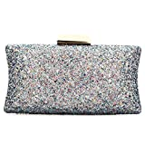 EROUGE Women Evening Clutch Bag Sequins Clutch Purse Fashion Handbags Clutch Bag (Silver)