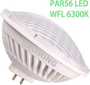 BAOMING Par56 LED Bulb,Flood Lighting 120Deg (6000~6300K) AC/120V Replace Standard PAR56 300 Watt Halogen Light Base Type: GX16D