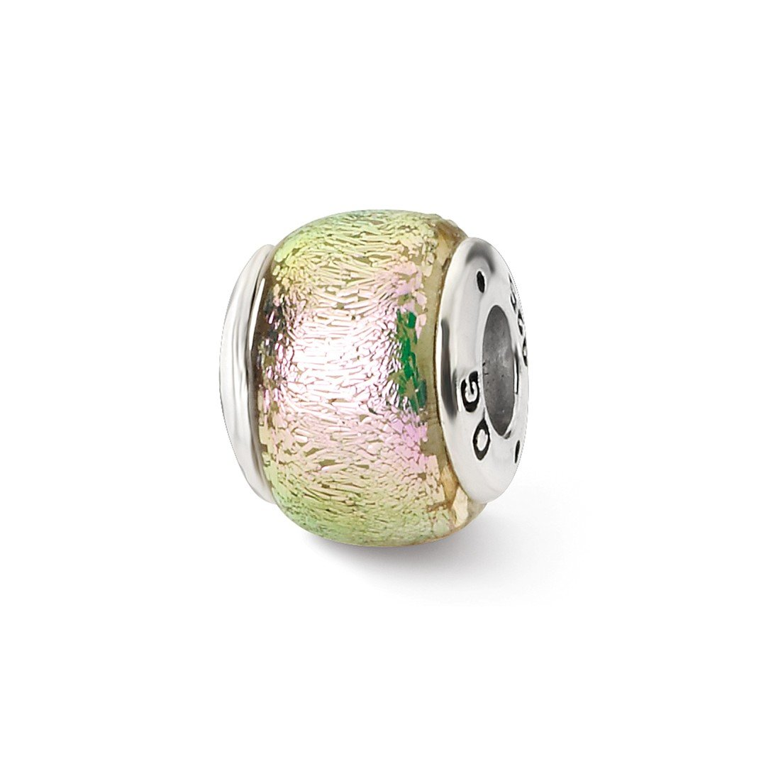 ICE CARATS 925 Sterling Silver Charm For Bracelet Pink Dichroic Glass Bead Glas Fine Jewelry Ideal Gifts For Women Gift Set From Heart