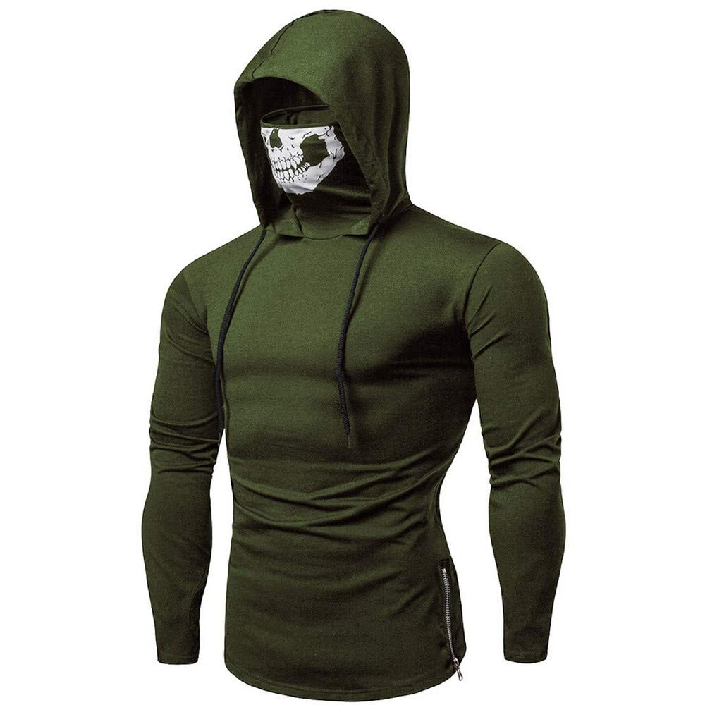 Mens Hoodie Stylish Mask Skull Design Solid Drawstring Sweatshirt Coat by Balakie(Army Green,M)
