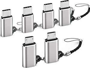 Micro USB to USB C Adapter 4-Pack + USB C to Micro USB Adapter with Keychain 2-Pack Compatible with Samsung Galaxy S10 S9 S8 Plus Note 9 8, MacBook- Sky Grey