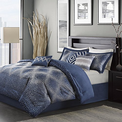 Madison Park Stylish Premium Quality Elegant Quinn Navy 7 Piece Queen Size Comforter Set 1 Comforter, 2 shams, 1 bed skirt, 3 decorative pillows