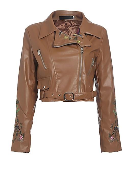 Biker Jacket Mujer Vintage Bordados Chaqueta Cuero Manga Larga De Solapa con Joven Bastante Cremallera Slim Fit Fashion Elegantes Otoño Invierno Corto ...