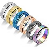 WAINIS 6 Pcs Stainless Steel Spinner Ring for Women Mens Fidget Band Rings Stress Relieving Wedding Promise Rings Set Size 6-