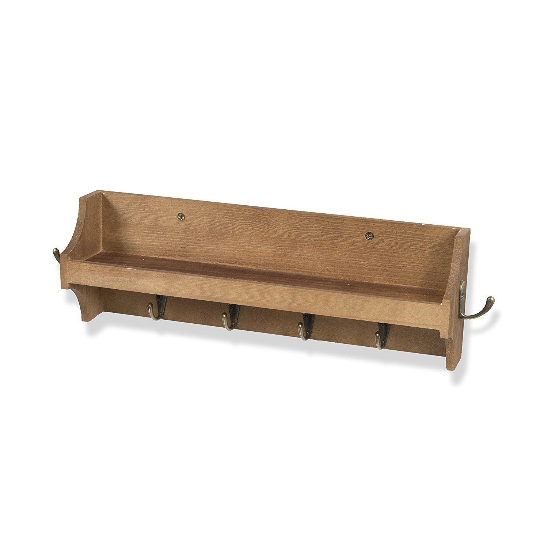 Amazoncom Brightmaison Small Coat Rack Shelf Wall Mounted With Hooks Wood