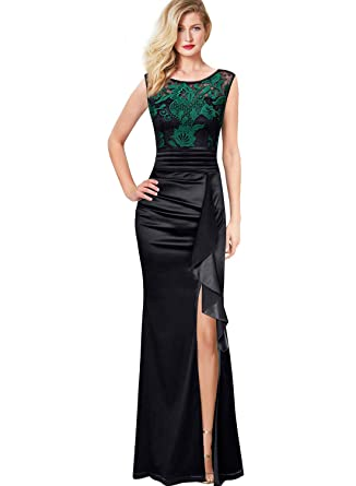 eadfd55b7788 VFSHOW Womens Ruched Ruffles Embroidered Formal Evening Wedding Maxi Dress  1960 GRN XS