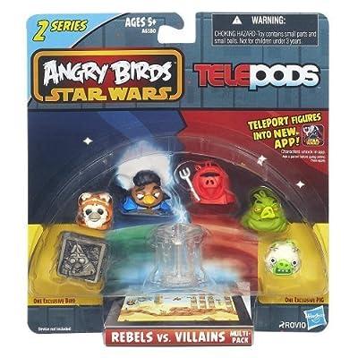 Angry Birds Star Wars Telepods Rebels vs. Villains 6 Pack - Jabba The Hutt, Tusken Raider, Han Solo (In Carbonite), Lando Calrissian, Wicket W. Warrick, Royal Guard by Hasbro
