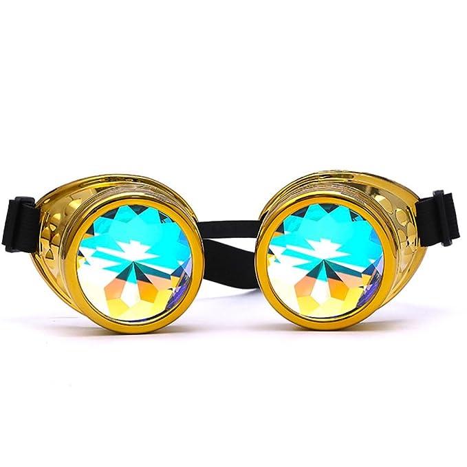 Gaddrt Kaléidoscope verres rave Festival Party EDM lunettes de soleil diffracté Lens (Doré) vDBRezS26g