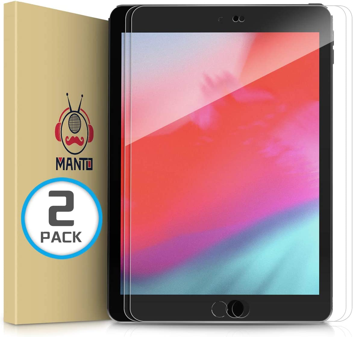 [2-Pack] MANTO Screen Protector for iPad 9.7 Inch 6th & 5th Generation, iPad Pro 9.7 Inch, iPad Air 2, iPad Air Tempered Glass Film