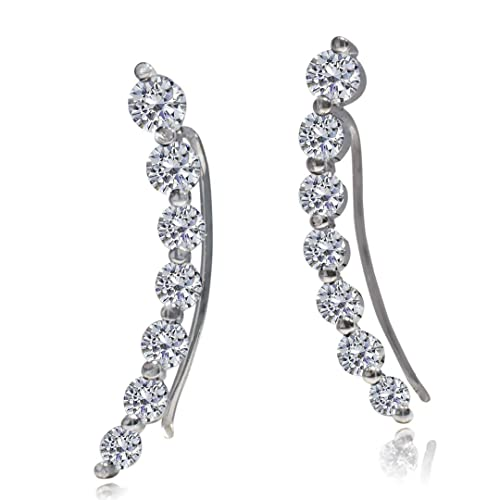 fd406197b Image Unavailable. Image not available for. Color: Ear Climber - Cuff  Earring | 925 Sterling Silver With CZ ...