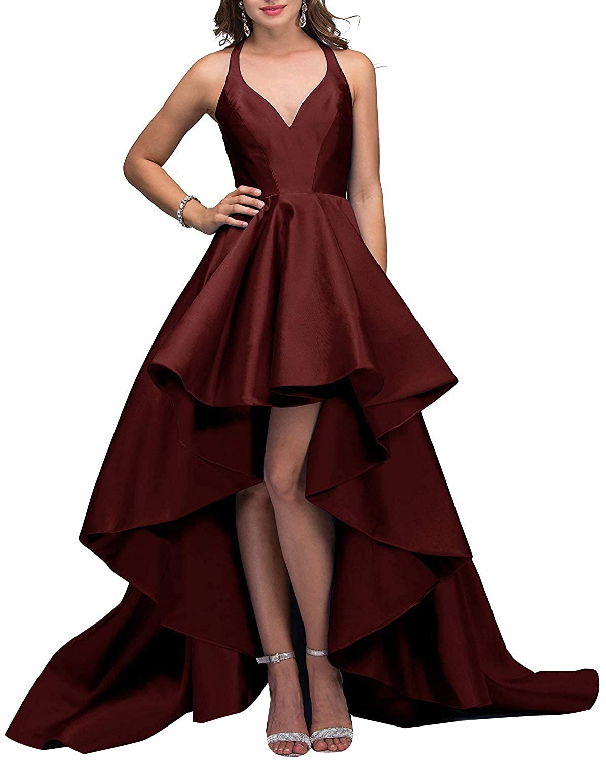 Burgundy V Neck Prom Gowns High Low Satin 2019 Open Back Formal Evening Dreses for Women
