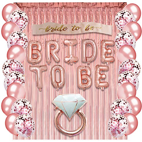 - Rose Gold Bachelorette Party Supplies - Bridal Shower Decorations Rose Gold Balloons, Confetti Balloons & Foil Balloon - Bachelorette Party Favors Bride-to-Be Sash, Foil Curtain & Balloon Ribbon