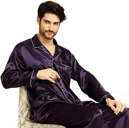 LIYANGEP Traje de Pijama de satén de Seda de Verano para Hombre, Bata de baño, Ropa