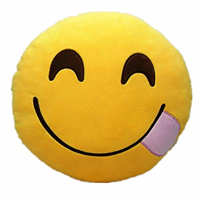 """PLUSH & PLUSH TM 12"""" Inch / 30cm Large Emoji Pillows Smiley Emoticon Soft Plush Stuffed Yellow Roundy Full Collection (USA SELLER) (HUNGRY - YUM): Home & Kitchen"""