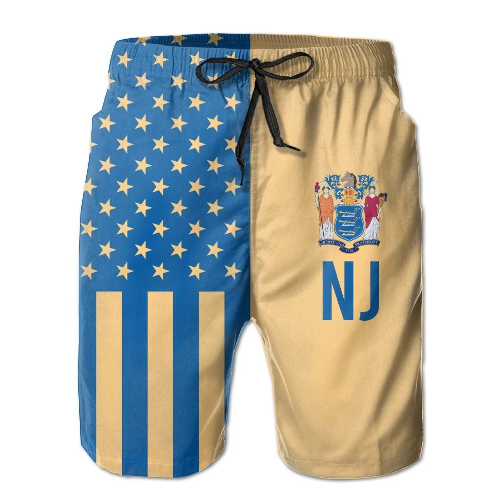SARA NELL Mens American New Jersey Flag Design Breathable Beach Board Shorts Swim Trunks Quick Dry