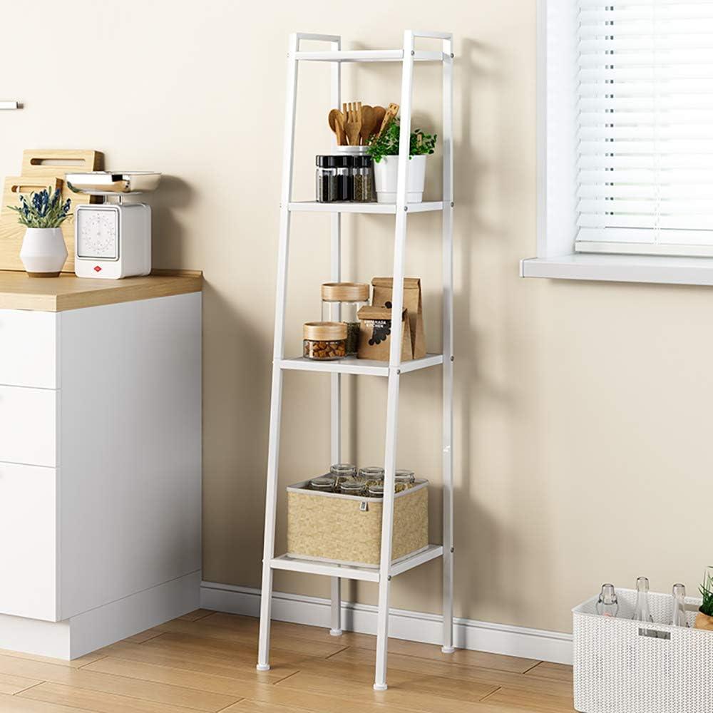 sogesfurniture 4-Tier Ladder Shelf Bookcase Leaning Free Standing steel Frame Decor Bookshelf Plant Display Shelf for Home Office,Display or Decorative Storage Rack,White BHCA-LXH-TJ30W-NEW Storage Flower Shelf