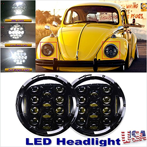 1969 Headlamp - LED 7 Inch Round Headlight Conversion Kit for VW Beetle Classic Volkswagen (1950 to 1979) Sealed Beam High and Low DRL Headlamp Replacement Bulb H5024/5024/6012/6014/6015/H6017/H6024 (Package of 2)
