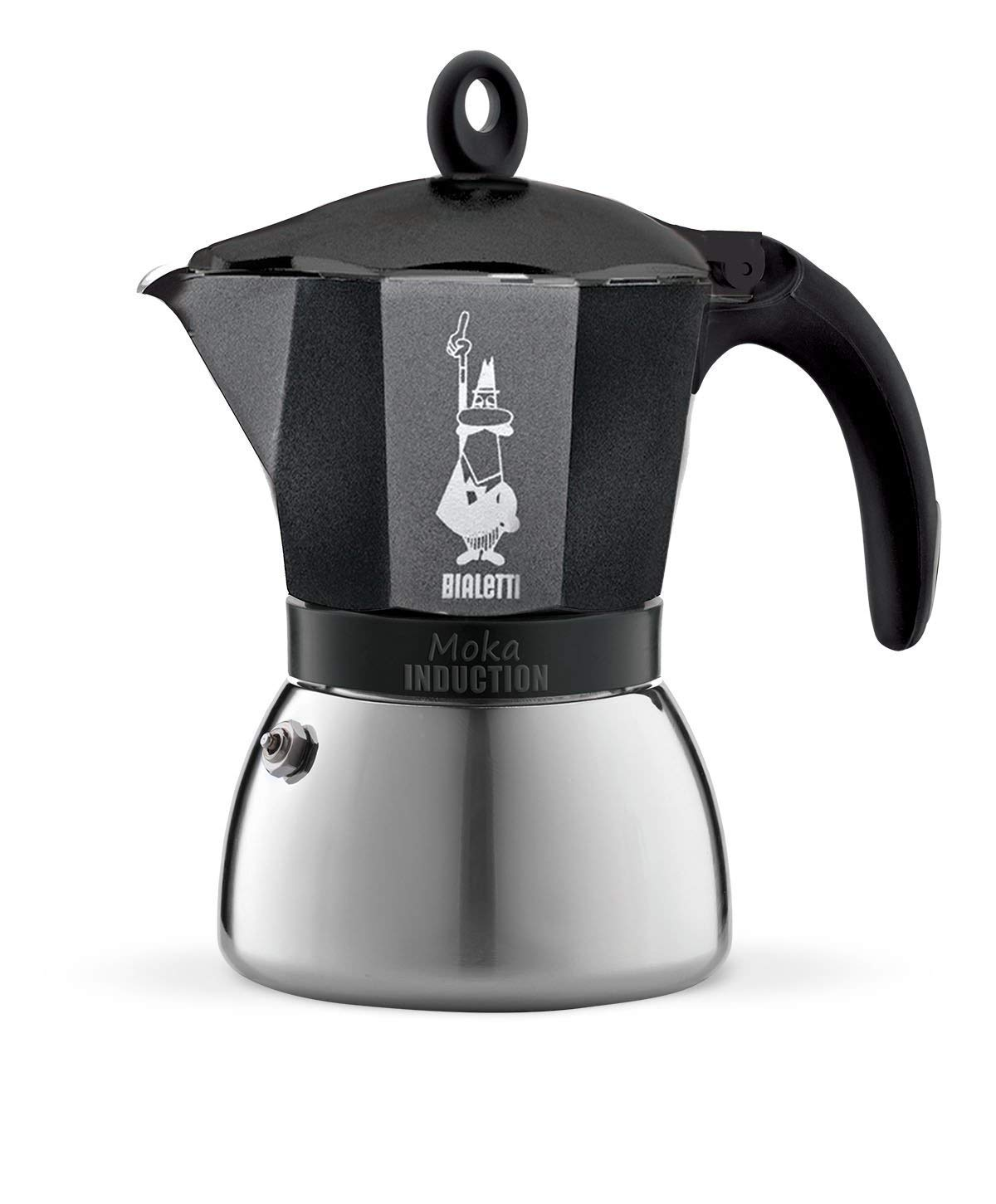 Bialetti 4813 Moka Induction Espresso Maker, Silver/Black