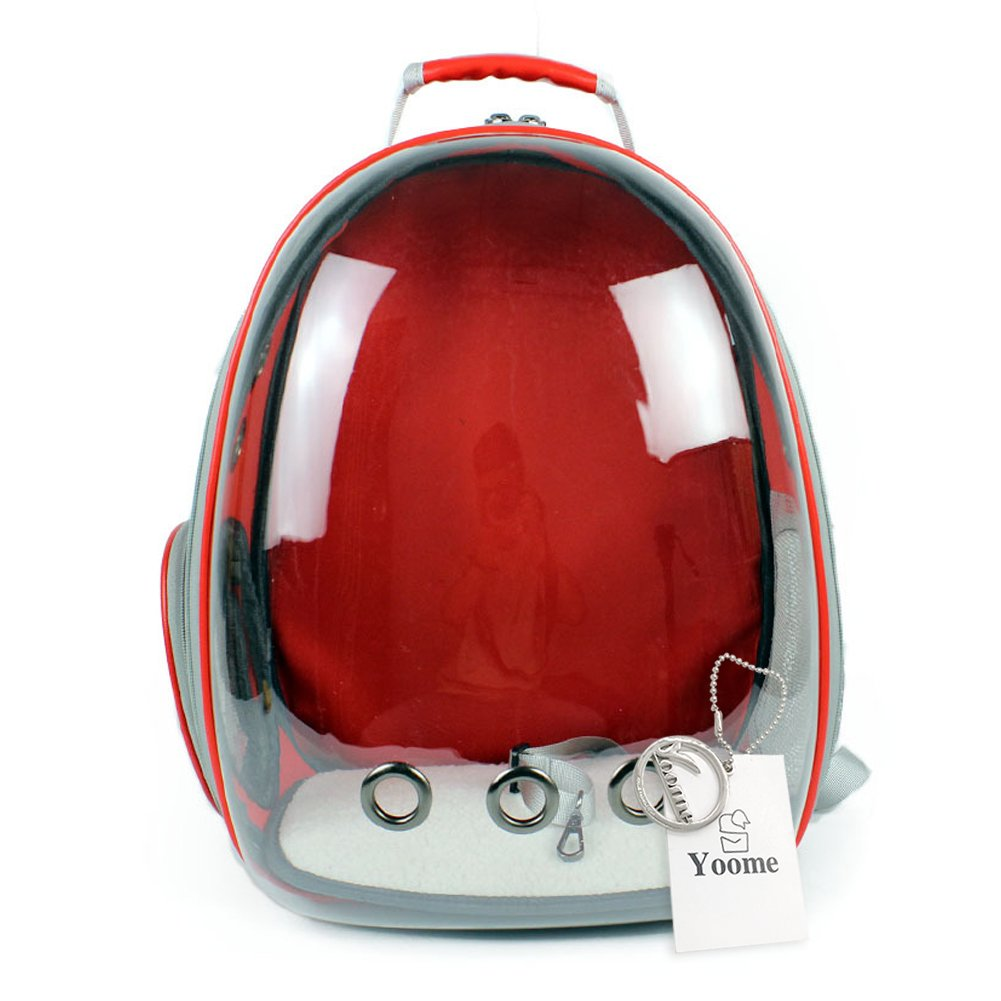 Red Yoome New Pet Space Cabin Pack, Semi-Panoramic Transparent Pet Chest Bag Portable Cat Dog Cage Backpack, Space Breathable Carrier,4 colors for Choose