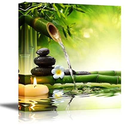 Amazon.com: wall26 - Canvas Wall Art - Spa Stones in Garden with ...