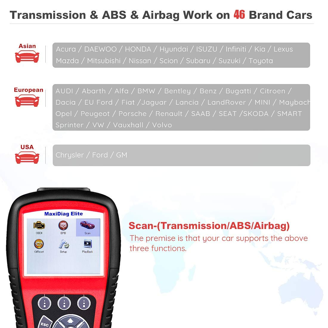 Autel Scanner MD802 Maxidiag Elite Diagnoses for ABS, Engine, Transmission, Airbag, EPB, Oil Service Reset Code Reader OBD2 Diagnostic Tool by Autel (Image #6)