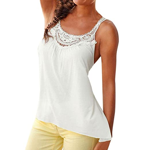 4185816a826276 BSGSH Women Sexy Lace Tank Top Vest Front Floral Crochet Cami Shirts  Sleeveless (S