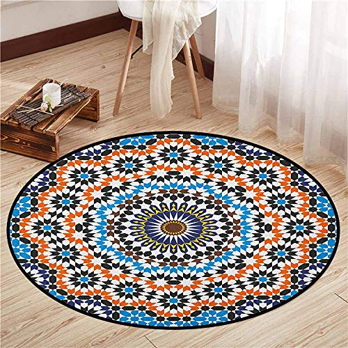 - Living Room Area Round Rugs,Vintage,Moroccan Ceramic Tile Inspired Floral Arabic Old Fashioned Cultural Mosaic Print,Sofa Coffee Table Mat,2'11