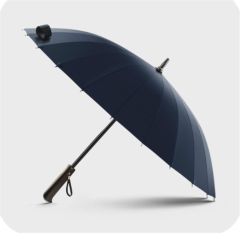 Rain Umbrella Men Quality 24K Strong Windproof Glassfiber Frame Wooden Long Handle Umbrella WomenS Parapluie,Dark Blue
