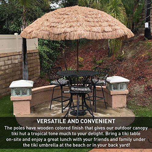9.5' Easygo Thatch Patio Tiki Umbrella – Tropical Palapa Raffia Tiki Hut Hawaiian Hula Beach Umbrella with UV Protection. Great for BBQ Area, Backyard Patio and Pool Areas - Largest