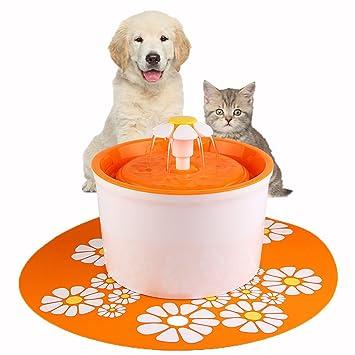 Eleoption Fuente de Agua para Mascotas, 1,6 L, Estilo de Flores,