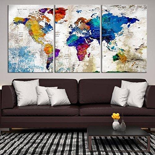 XL World Map Push Pin Wall Art Canvas Print, Push Pin World