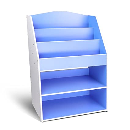 Magshion Children Kids Bookcase Toy Storage Bookshelf Wooden Organizer Blue