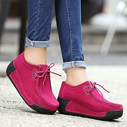 EnllerviiD Fur Up Lined Loafers Faux Fur Lace Suede Winter Platform Moccasins Rose Lined Women Shoes 1318 Wedges Faux BtaqrwB