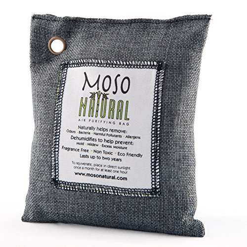 Moso Natural 200 gm Air Purifying Bag Deodorizer. Odor Eliminator for Cars, Closets, Bathrooms and Pet Areas. Absorbs and Eliminates Odors. Charcoal Color
