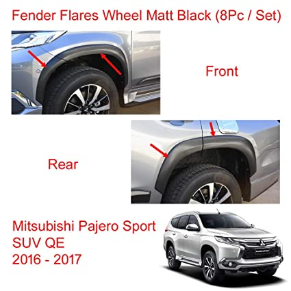 Amazon.com: Powerwarauto Set Fender Flares Wheel Front Rear Matt Black for Mitsubishi Pajero Montero Sport SUV Medium Black Medium Black: Automotive